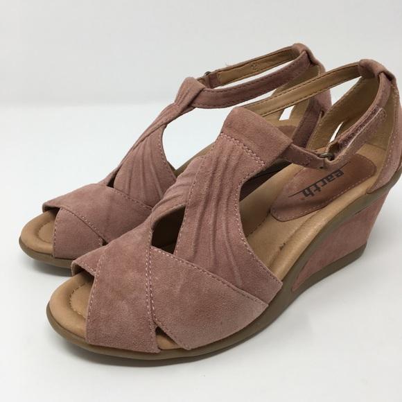 718eb3b63777 Earth Shoes - Earth Sandals Sz 5.5B Wedge Peep Toe Curvet Blush